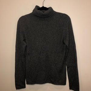 Lord & Taylor Gray 2-Ply Cashmere Turtle Neck